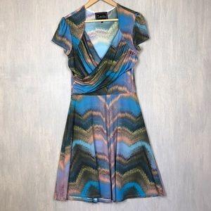 Leota wrap top dress in watercolor print L